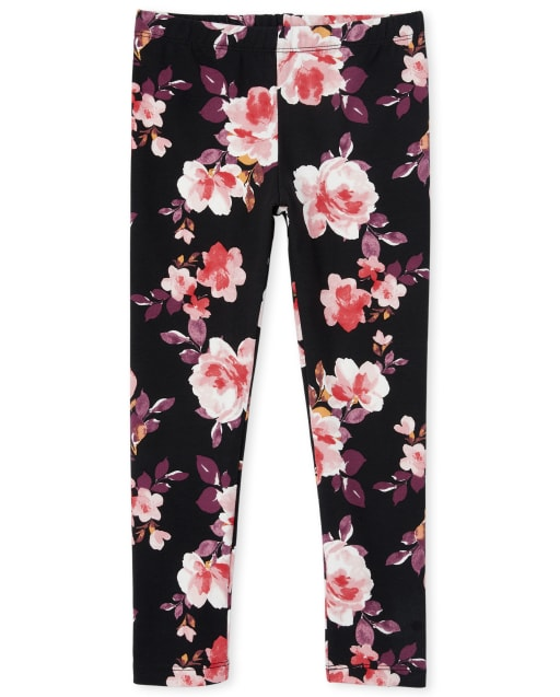 Girls Floral Print Knit Leggings
