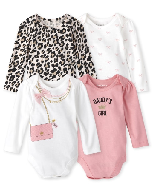 Baby Girls Long Sleeve Fashionista Bodysuit 4-Pack