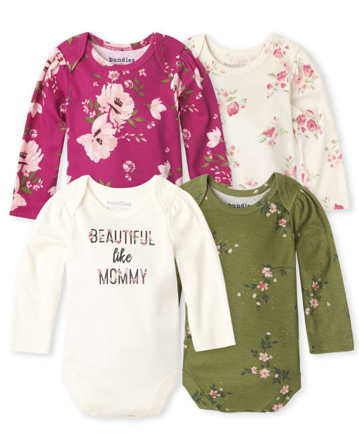 Baby Girls Long Sleeve Floral Bodysuit 4-Pack