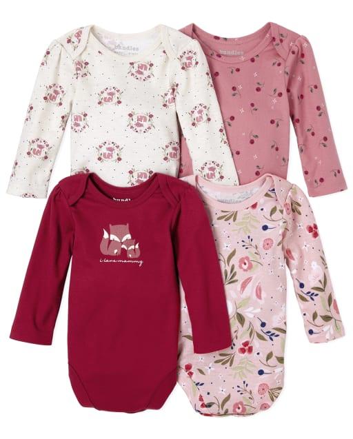 Baby Girls Long Sleeve Floral Fox Bodysuit 4-Pack