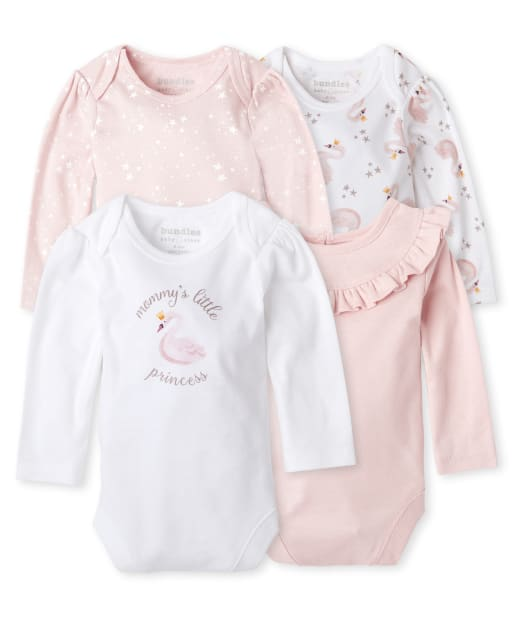 Baby Girls Long Sleeve Swan Bodysuit 4-Pack