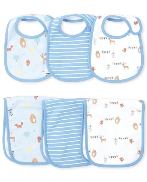 Conjunto de 6 piezas de babero y tela para eructar Happy Bear para bebé niño