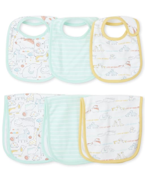 Unisex Baby Doodle Animals Bib And Burp Cloth 6-Piece Set