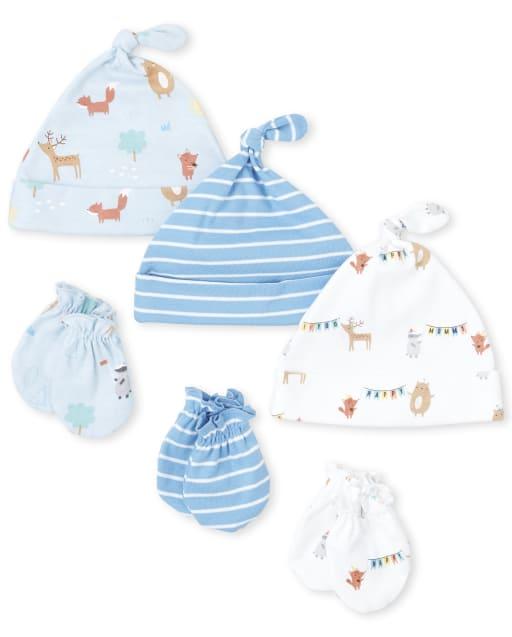 Conjunto de 6 piezas de gorro y manoplas anudadas Happy Bear para bebé niño