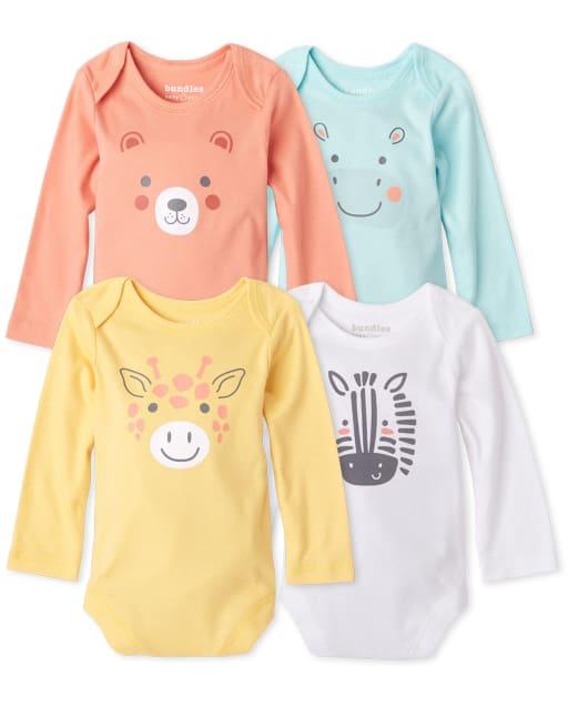 Unisex Baby Long Sleeve Doodle Animals Bodysuit 4-Pack