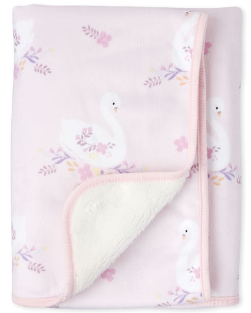 Baby Girls Floral Swan Cozy Blanket