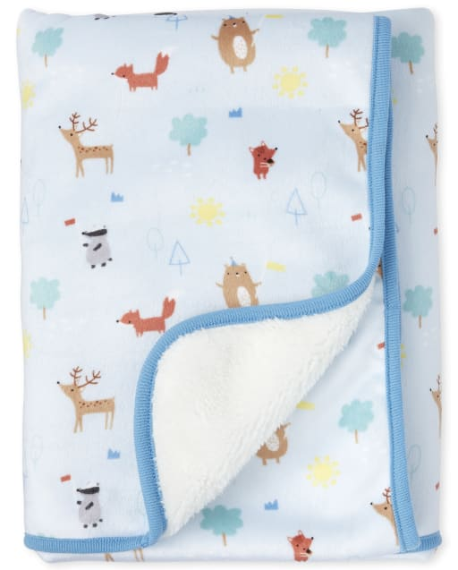 Baby Boys Happy Bear Cozy Blanket