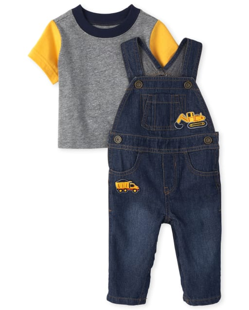 Baby Boys Short Sleeve Shirt And Construction Patch Denim Overalls Outfit Set