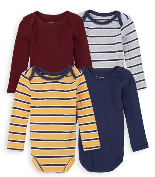 Baby Boys Long Sleeve Striped Bodysuit 4-Pack