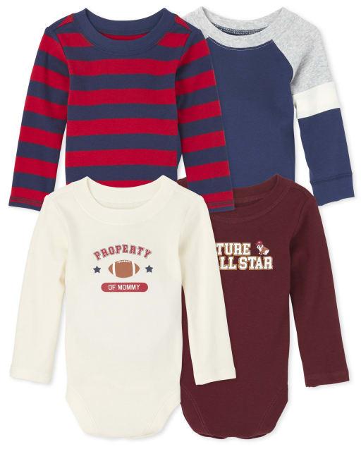 Baby Boys Long Sleeve Varsity Bodysuit 4-Pack