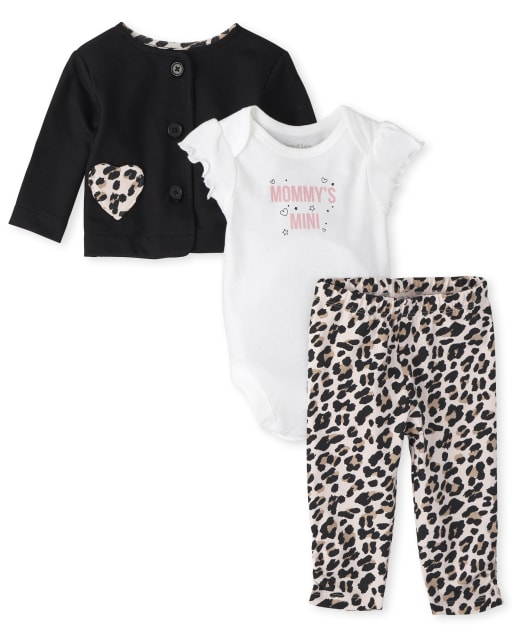 Baby Girls Long Sleeve French Terry Jacket Short Sleeve 'Mommy's Girl' Bodysuit And Leopard Print Knit Pants 3-Piece Playwear Set