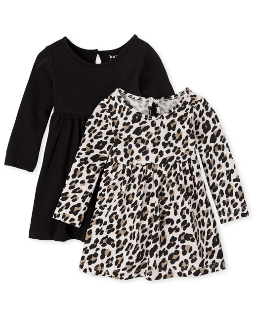 Baby Girls Long Sleeve Leopard Print And Solid Bodysuit Dress 2-Pack