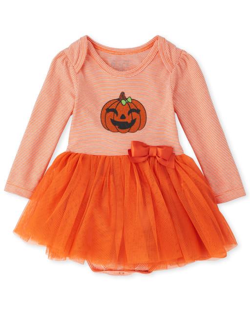 Vestido de tutú de calabaza de manga larga de Halloween para niñas bebés