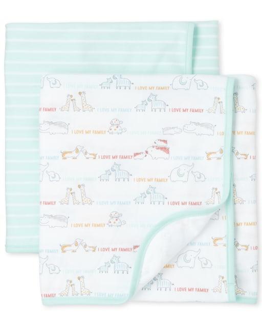 Unisex Baby Doodle Animals Swaddle Blanket 2-Pack