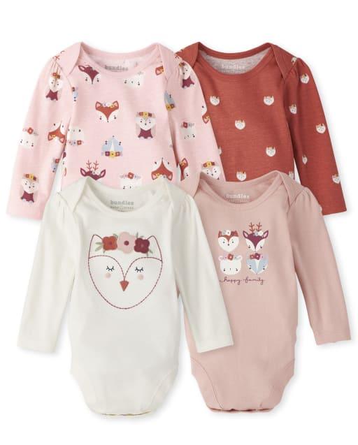 Baby Girls Long Sleeve Owl Bodysuit 4-Pack