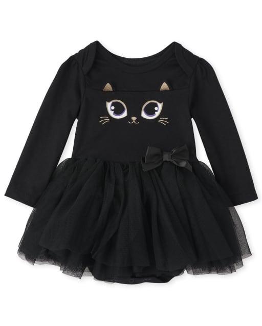 Vestido de mono de tutú de gato con manga Ling de Halloween para niñas bebés
