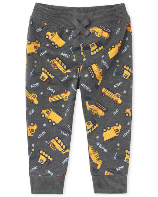 Baby And Toddler Boys Active Construction Print Fleece Jogger Pants