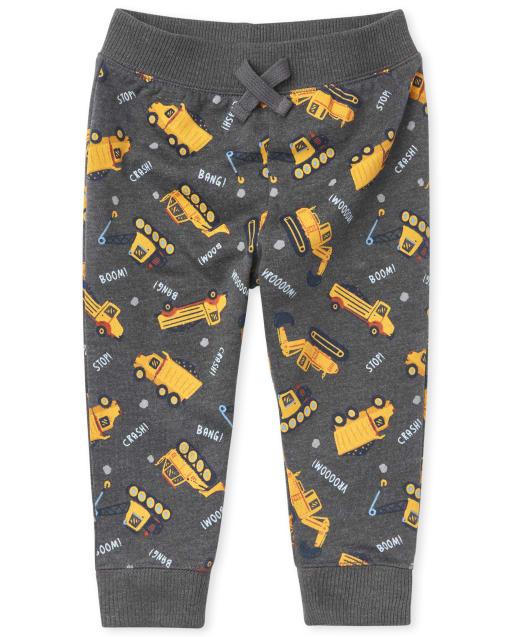 Baby And Toddler Boys Active Construction Print Fleece Jogger Pants