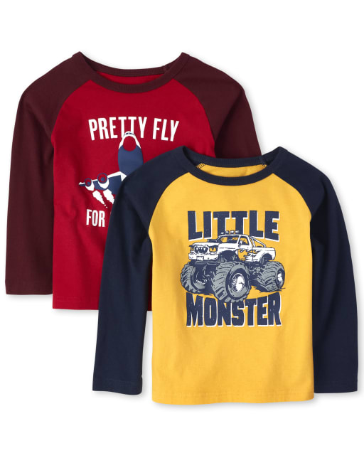 Baby And Toddler Boys Long Sleeve Graphic Raglan Top 2-Pack