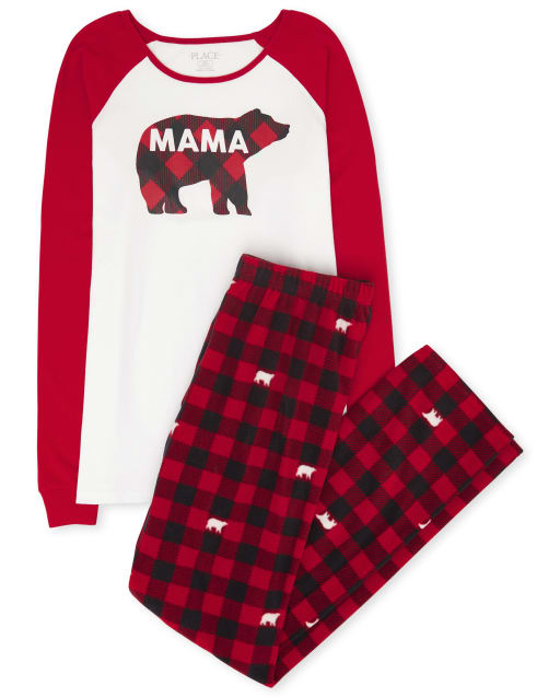 Womens Matching Family Christmas Long Raglan Sleeve Bear Buffalo Plaid Cotton Top And Fleece Pants Pajamas