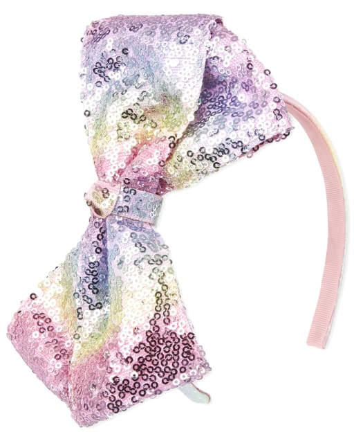 Girls Rainbow Sequin Bow Headband