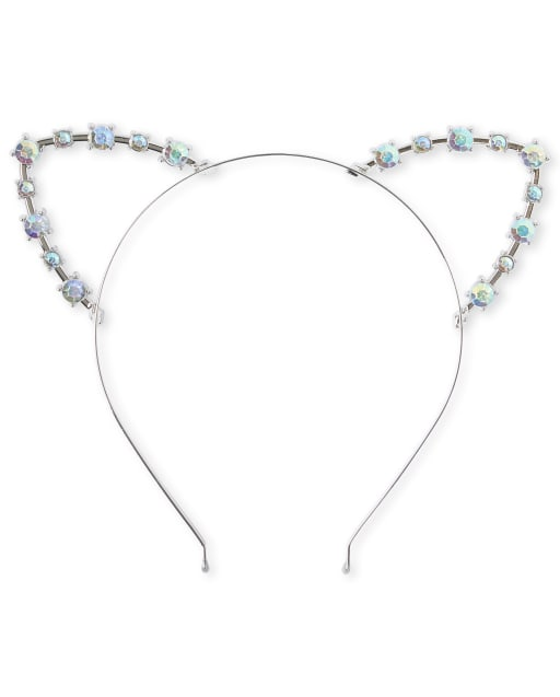 Girls Jeweled Cat Ears Metal Headband