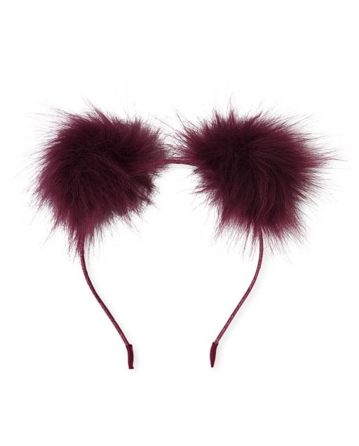 Girls Faux Fur Glitter Pom Pom Headband