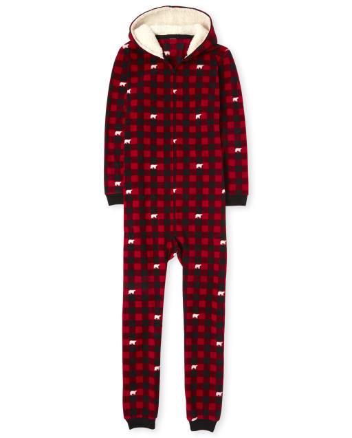 Unisex Adult Matching Family Christmas Bear Buffalo Plaid Fleece Hooded One Piece Pajamas