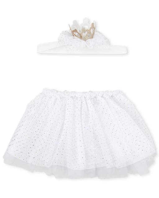 Baby Girls Crown Headwrap And Tutu Skirt 2-Piece Accessories Set
