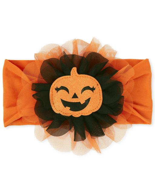 Baby Headwrap de calabaza con purpurina de Halloween para niñas