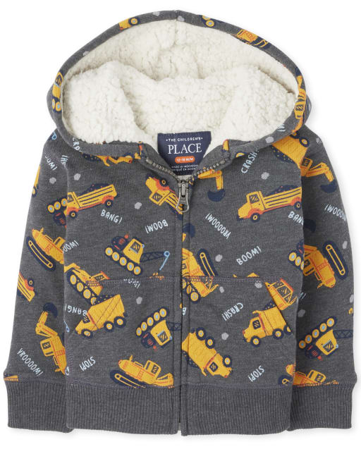 Toddler Boys Long Sleeve Print Sherpa Zip Up Hoodie