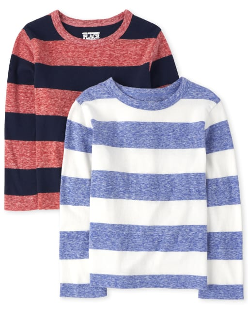 Baby And Toddler Boys Long Sleeve Striped Top 2-Pack