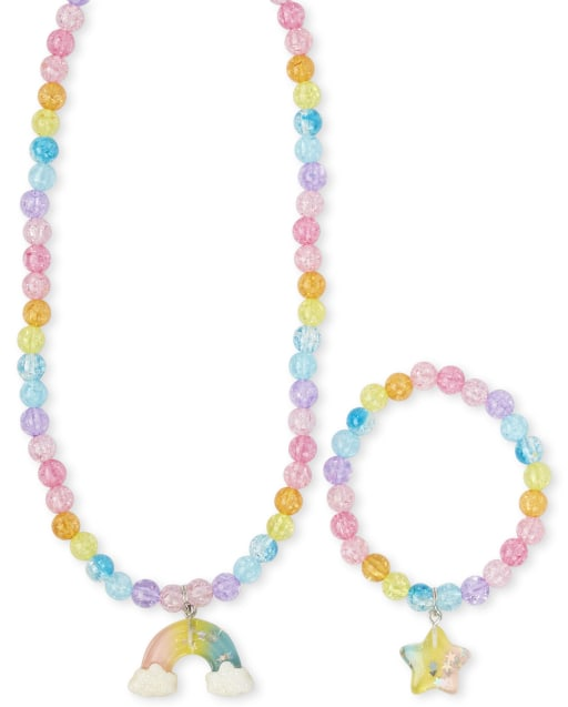 Girls Rainbow Beaded Necklace And Bracelet Set