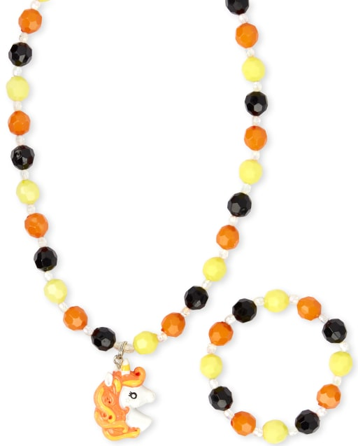 Girls Halloween Unicorn Beaded Necklace And Bracelet Set