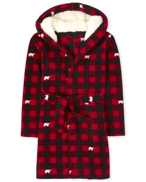 Unisex Kids Matching Family Christmas Long Sleeve Bear Buffalo Plaid Fleece Robe