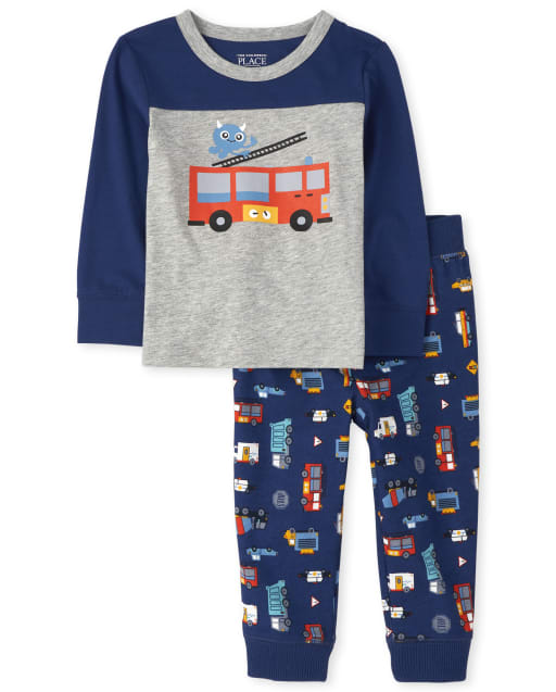 Baby And Toddler Boys Fire Truck Top And Print Jogger Pants Outfit Set
