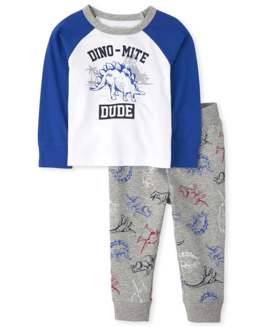Baby And Toddler Boys Long Raglan Sleeve 'Dino Mite Dude' Top And Dino Print Jogger Pants Outfit Set