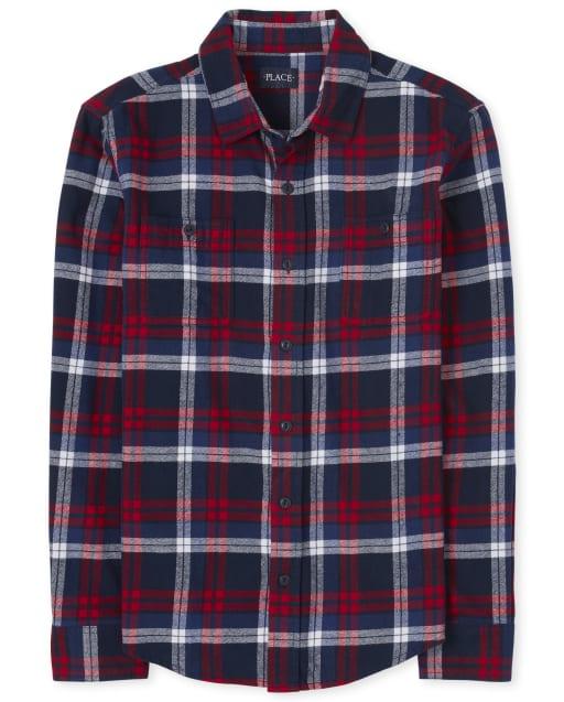 Camisa con botones de franela a cuadros de la familia a juego para hombre