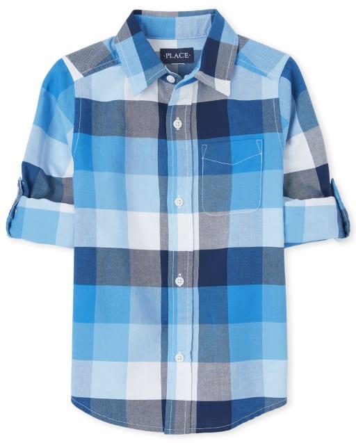 Boys Long Roll Up Sleeve Check Print Oxford Button Down Shirt