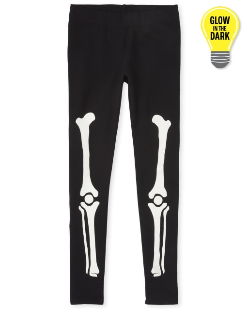 Womens Mommy And Me Halloween Glow In The Dark Skeleton Matching Cozy Leggings