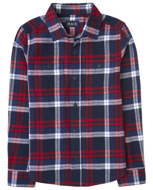 Boys Matching Family Long Sleeve Plaid Flannel Button Down Shirt