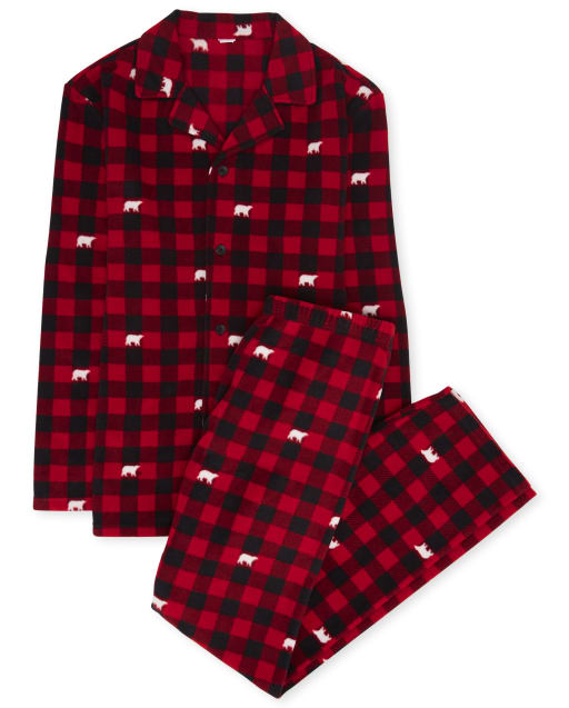 Unisex Adult Matching Family Christmas Long Sleeve Bear Buffalo Plaid Button Down Top And Pants Pajamas