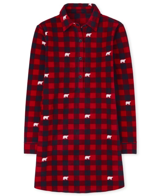 Womens Matching Family Christmas Long Sleeve Bear Buffalo Plaid Fleece Nightgown