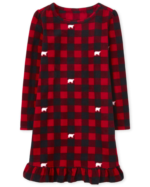 Girls Matching Family Christmas Long Sleeve Bear Buffalo Plaid Fleece Nightgown