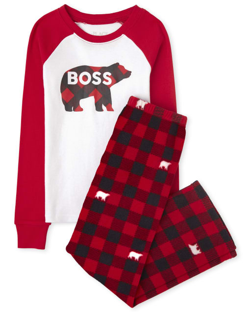 Unisex Kids Matching Family Christmas Long Raglan Sleeve Bear Buffalo Plaid Snug Fit Cotton Top And Fleece Pants Pajamas