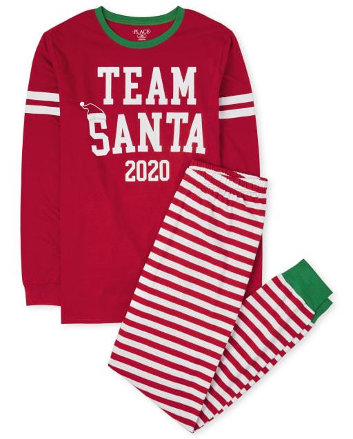 Pijama de algodón de Santa de equipo de manga larga de Navidad familiar a juego para adultos unisex