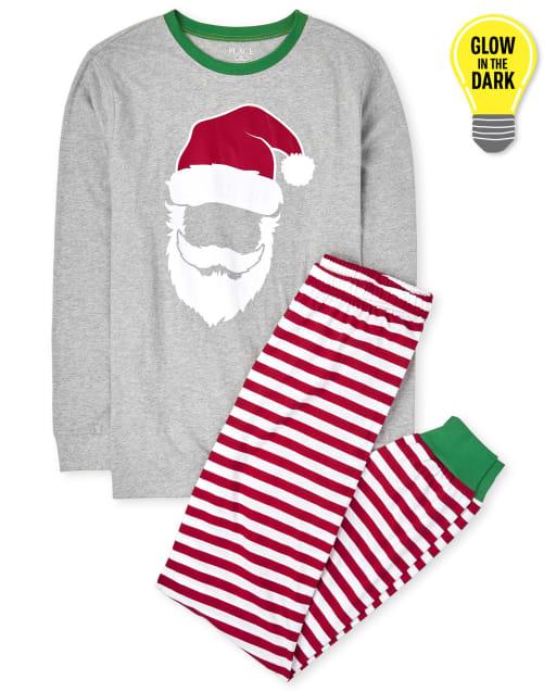 Pijama de algodón a rayas unisex para adultos a juego con familia de Navidad que brilla en la oscuridad