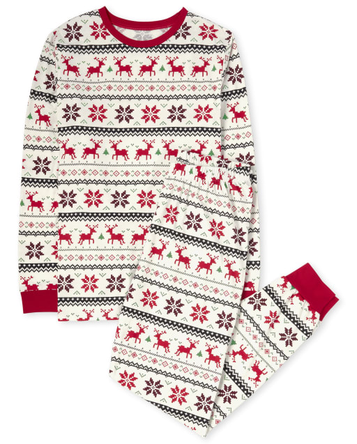 Unisex Adult Matching Family Reindeer Fairisle Cotton Pajamas