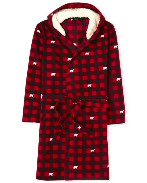 Unisex Adult Matching Family Christmas Long Sleeve Bear Buffalo Plaid Fleece Hooded Robe