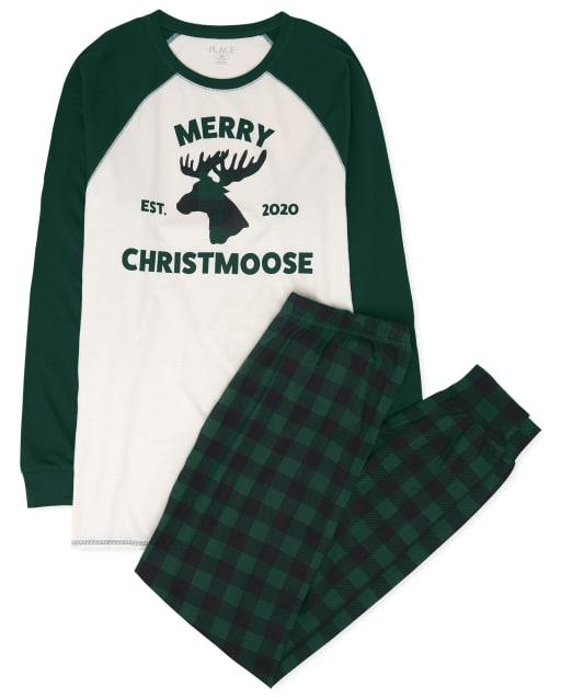 Pijama de algodón de alce navideño con manga raglán larga de Navidad a juego para adultos unisex